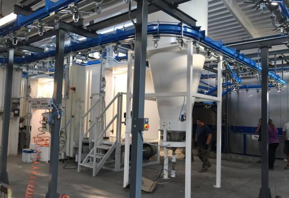Automatická prášková kabina s rekuperací,color centrum